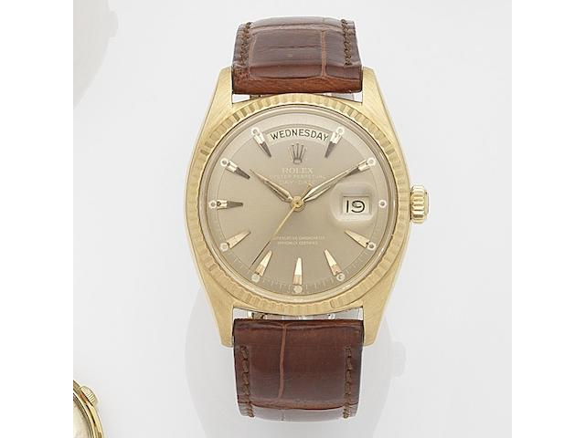 Rolex. An 18ct gold automatic calendar wristwatch  Day-Date, Ref:6611, Serial No.403***, Movement No.N84****, Circa 1959
