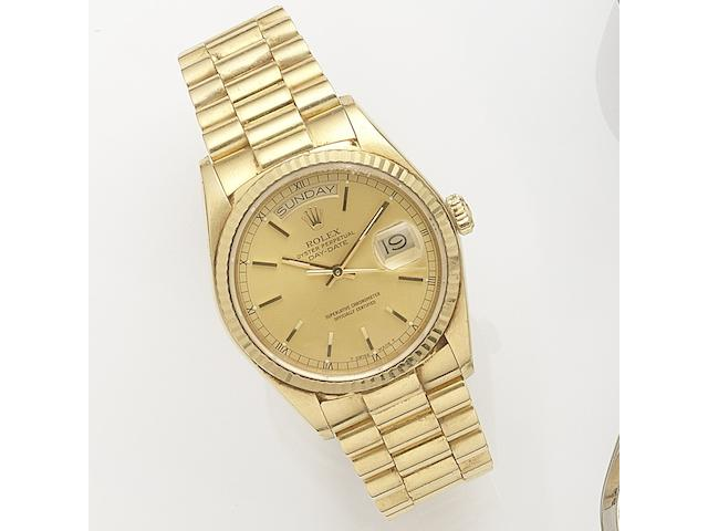 Rolex. An 18ct gold automatic calendar bracelet watch Day-Date, Ref:18038, Serial No.844****, Movement No.070****, Circa 1984