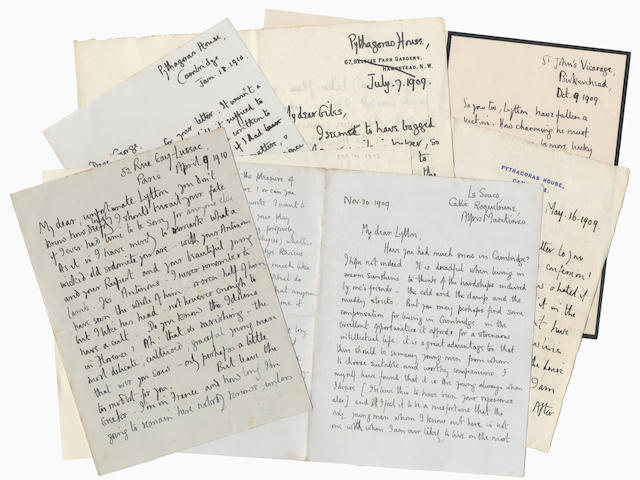 MALLORY (GEORGE LEIGH) Series of thirty-four autograph letters and cards, all but one signed, to Lytton Strachey; together with a black-edged memorial envelope with his name painted [by Dora Carrington], St John's Vicarage, Birkenhead, Pythagoras House and The Old Lodge Magdalene College, Cambridge, Charterhouse, Haileybury, Dartmouth, Camberley, Paris, Roquebrune, Valentia Harbour, and SS Sardinia nearing Colombo, 1909-1921