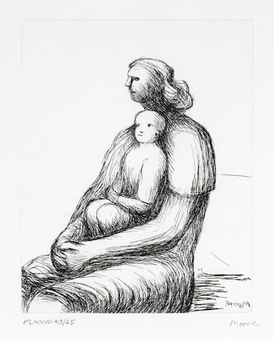 Henry Moore O.M., C.H. (British, 1898-1986) Mother and Child XXVII Etching, 1983, on Arches, signed and inscribed 'PL XXVII 43/65' in pencil, printed by James Collyer and John Crossley, published by Raymond  Spencer Company Ltd for The Henry Moore Foundation, with margins, 225 x 175mm (8 3/4 x 6 3/4)(PL)