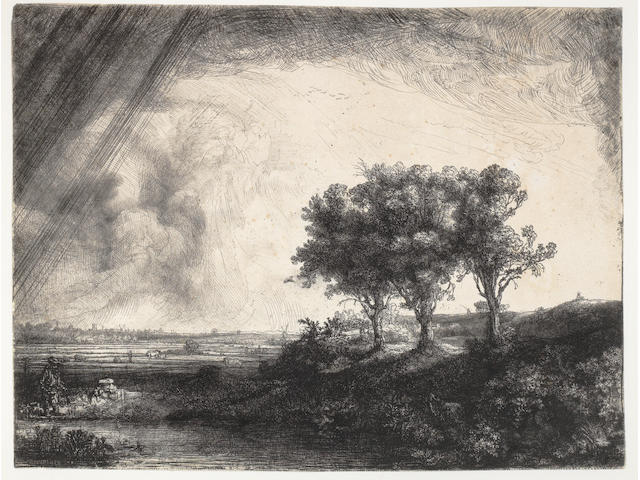 Rembrandt Harmensz van Rijn (Dutch, 1606-1669) The Three Trees Etching, engraving and drypoint, 1643, a fine rich impression, printing with good contrasts, with considerable burr, the sulphur tinting clearly visible, on laid, watermark Foolscap with Five-Pointed Collar, with thread margins in a few places, otherwise trimmed to the platemark, skilfully set into a larger piece of laid, 213 x 279mm (8 3/8 x 10 7/8in)(PL)(unframed)