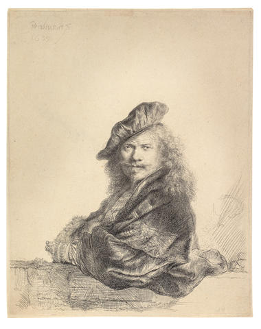 Rembrandt Harmensz van Rijn (Dutch, 1606-1669) Self Portrait Leaning on a Stone Sill Etching with touches of drypoint, 1639, a fine impression of the second final state, with the cap band extended towards the right and the right cap edge clearly defined, on laid, with narrow margins,  with a countermark possibly 'PDB', 205 x 164mm (8 1/8 x 6 1/2in)(PL)(unframed)