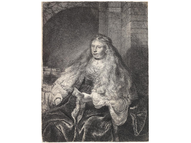 Rembrandt Harmensz van Rijn (Dutch, 1606-1669) The Great Jewish Bride Etching with drypoint, 1635, a fine impression of the final fifth state, with the horizontal lines to indicate the stonework in the right background and additional shading on the wall behind her head, on laid, with a partial watermark of a double-headed eagle, trimmed to the platemark, 220 x 168mm (8 3/4 x 6 3/4in)(PL)(unframed)