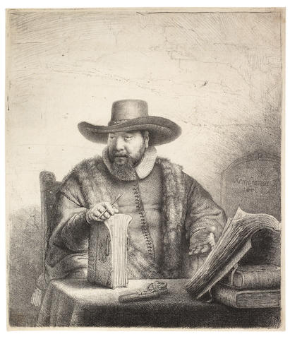 Rembrandt Harmensz van Rijn (Dutch, 1606-1669) Cornelis Claesz. Anslo, Preacher Etching and drypoint, 1641, New Hollstein's third state of five, with reworking around the right eye and the fur lining of the cloak to the right of the book, fine lines added to his left sleeve and his chest below the pen, on thick laid, with thread margins, 188 x 158mm (7 3/8 x 6 1/4in)(PL)(unframed)
