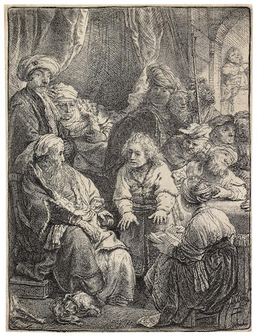 Rembrandt Harmensz van Rijn (Dutch, 1606-1669) Joseph Telling his Dreams Etching, 1638, New Hollstein's third state of six, with the area in front of the seated girl's face burnished white and shading added in numerous places such as the upper part of the doorway and the face and turban of the central standing figure, on laid, trimmed to the platemark or with thread margins, 110 x 83mm (4 3/8 x 3 1/4in)(PL)(unframed)
