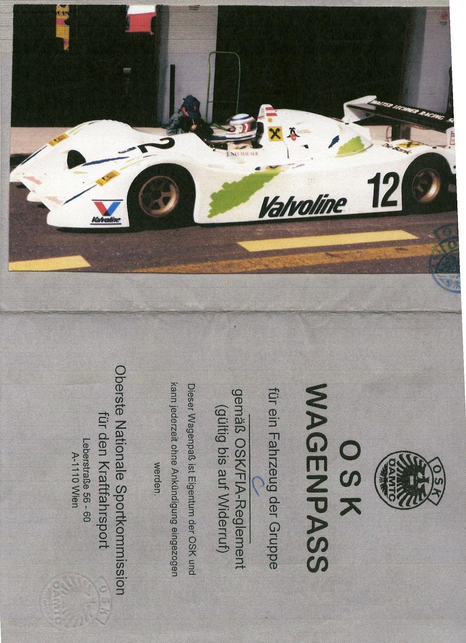 Ex-Walter Lechner, Josef Neuhauser; Inteserie Division I Championship-winning,1991 Lechner Spyder  LSC1 Sports Prototype  Chassis no. LSC 1