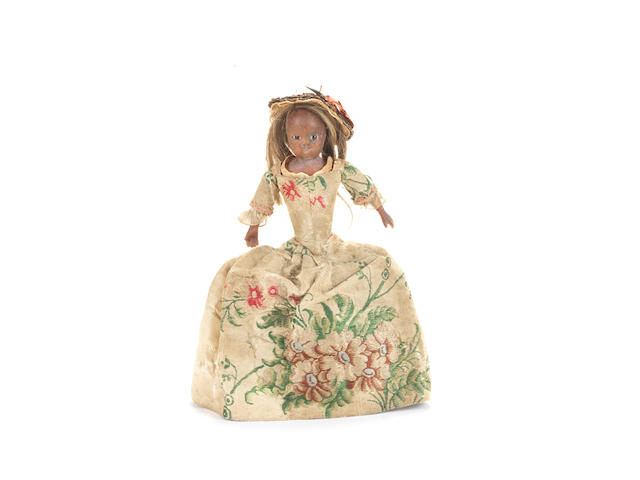 Extremely rare and early all original bees wax doll, English mid 18th Century