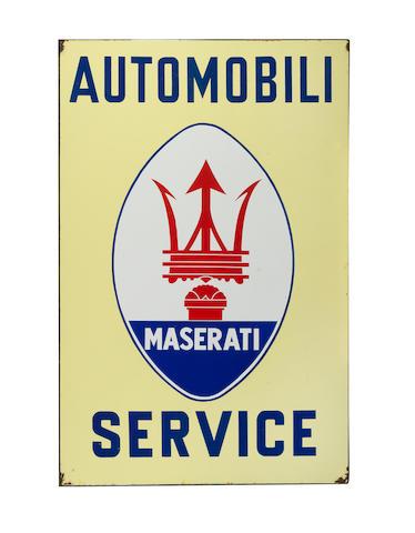 A rare 'Maserati Automobili Service' enamel sign,