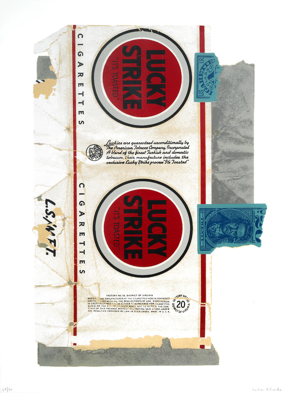 Sir Peter Blake (British, born 1932) Lucky Strike Three screenprints in colours with foil leaf, 2008, on wove, each signed and numbered 29/50 in pencil, the full sheets, 1017 x 765mm (40 1/8 x 30 1/8in)(SH)(3)