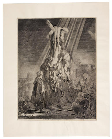 Rembrandt Harmensz van Rijn (Dutch, 1606-1669) Descent from the Cross: The Second Plate Etching and engraving, 1633, the fifth state (New Hollstein's sixth state) with the address of Justus Danckerts coarsely burnished from the lower margin but still partially visible, on laid backed onto wove and set into a thick japan surround, trimmed to the platemark or with narrow margins, indistinct watermark, 528 x 405mm (20 3/4 x 16in)(PL)(unframed)
