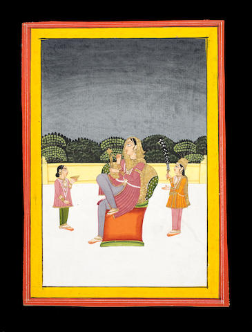 A lady seated on a terrace with two attendants Jaipur, mid-19th Century