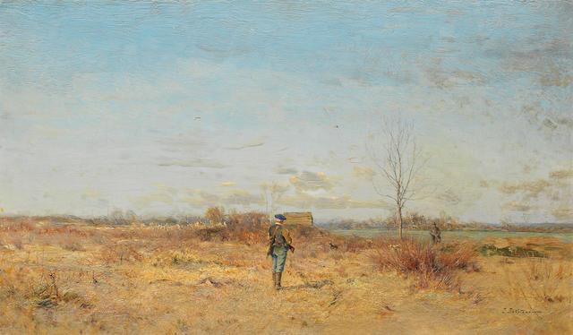 Ivan Pavlovich Pokhitonov (Ukrainian, 1850-1923) Two hunters in a landscape
