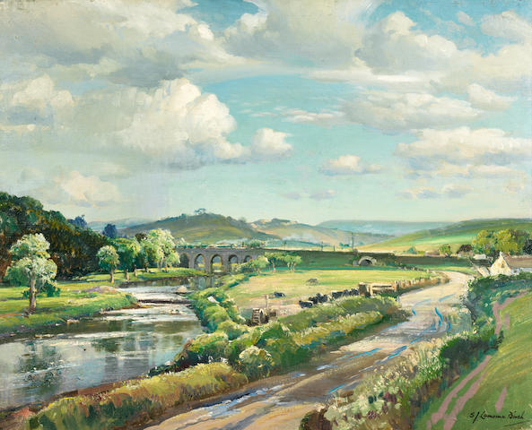 Samuel John Lamorna Birch ,RA, RWS, RWA (British, 1869-1955) On the River Deveron