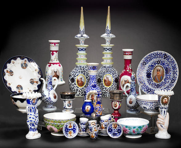 A collection of Bohemian glass and porcelain Vessels depicting Nasr al-Din Shah Qajar 19th Century(30)