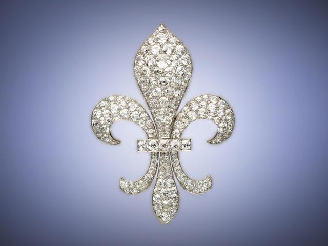 A 19th century diamond fleur-de-lys brooch