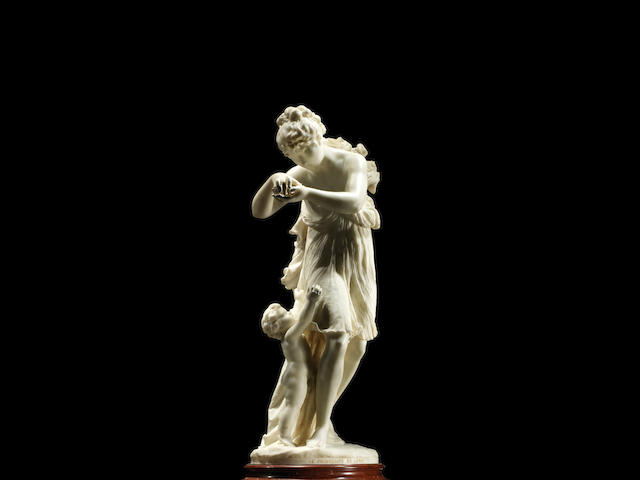An Italian white marble sculpture entitled 'Le Printemps de la Vie'  by Antonio Giovanni Lanzirotti, dated 1876 (2)