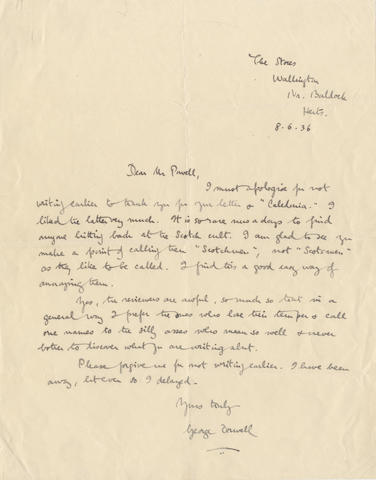 "ORWELL (GEORGE) Autograph letter signed (""George Orwell""), to the novelist Anthony Powell (""Dear Mr Powell""), apologising for not having thanked him earlier for his letter [praising Keep the Aspidistra Flying], The Stores, Wallington, Near Baldock, Hertfordshire, 8 June 1936"