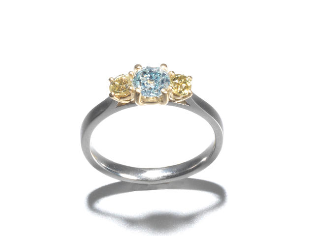 A fancy blue-green diamond and yellow diamond ring