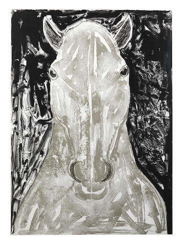 Dame Elisabeth Frink R.A. (British, 1930-1993) Grey Horse Head Lithograph printed in black and grey, 1990, on BFK Rives, signed and numbered 60/70 in pencil, printed by Curwen Chilford Prints, with their blindstamp, published by Curwen Chilford Prints and the artist, the full sheet printed to the edges, 985 x 705mm (38 3/4 x 27 3/4in)(SH)