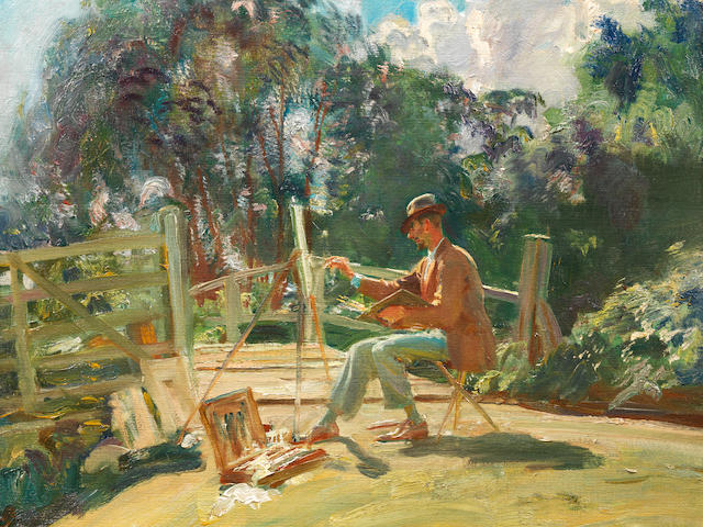 Sir Alfred James Munnings, PRA, RWS (British, 1878-1959) Sketching at Wiston Bridge