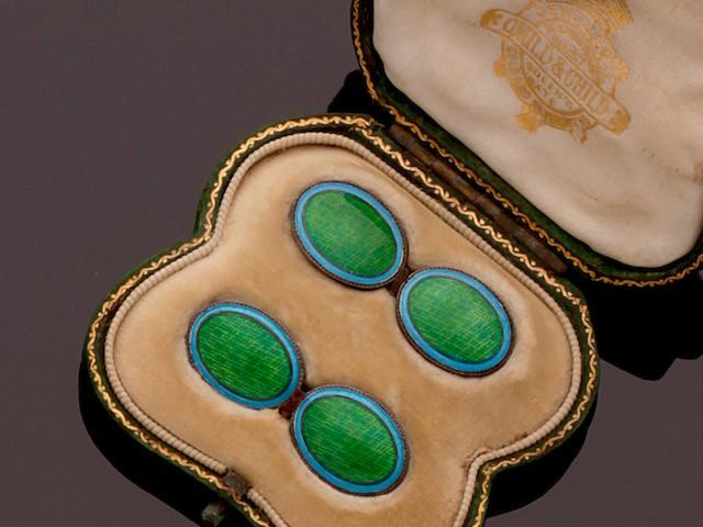 Child & Child: A pair of enamel cufflinks