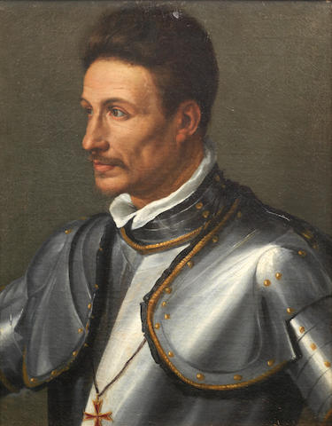 Circle of Alessandro di Cristofano Allori (Florence 1535-1607) Portrait of a gentleman, half-length, in armour, wearing the Order of Saint Stephen