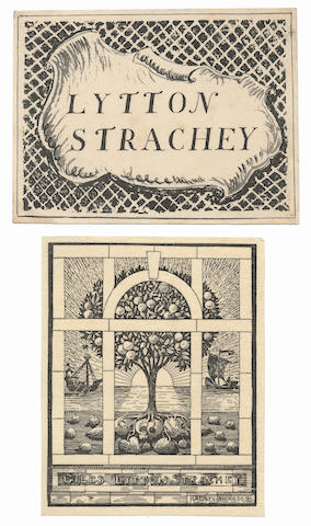 STRACHEY (LYTTON) Original design by Halsey Ricardo for Lytton Strachey's first pictorial bookplate, together with examples of the printed version, in both sizes, printed in black; and an example of the lithographed book plate designed by Dora Carrington for Strachey, 1899 and [1931]