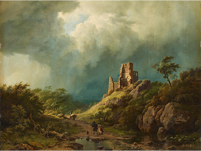 Barend Cornelis Koekkoek (Dutch, 1803-1862) Travellers passing a ruined castle in a stormy landscape