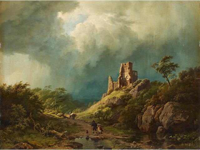 Barend Cornelis Koekkoek (Dutch, 1803-1862) Travellers passing a ruined castle in a stormy landscape