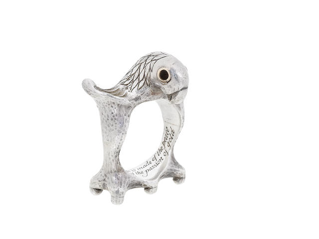 A silver eagle ring, by Mosheh Oved,