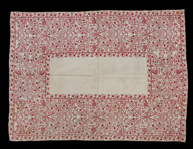 A 17th century redwork embroidered cloth
