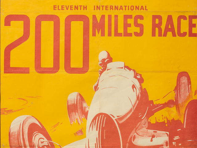 An original Brooklands 11th International 200 Mile Race poster for the event on 27 August 1938,