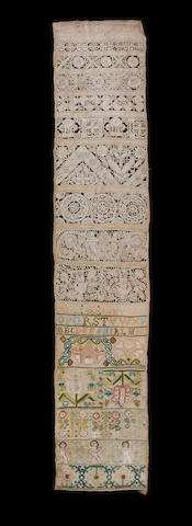 A mid-late 17th century embroidered and lace band sampler