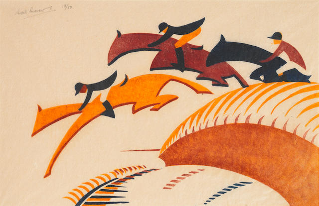 Sybil Andrews CPE (British/Canadian, 1898-1992) Steeplechasing  Linocut printed in Chinese orange, alizarin purple madder and Prussian blue, 1930, on buff oriental laid tissue, signed and numbered 13/50 in pencil, with margins, 175 x 272mm (6 7/8 x 10 3/4in)(B) unframed