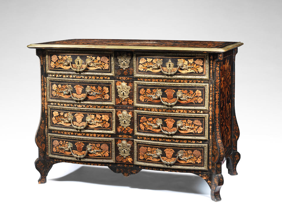 A Louis XIV ormolu-mounted ebony, fruitwood and marquetry commode, possibly by Aubertin Gaudron or André-Charles Boulle