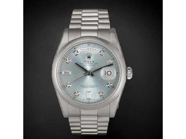 Rolex. A very fine platinum and diamond set automatic calendar bracelet watch Day-Date, Ref:118206, Serial No.472****, Movement No.394*****, Recent