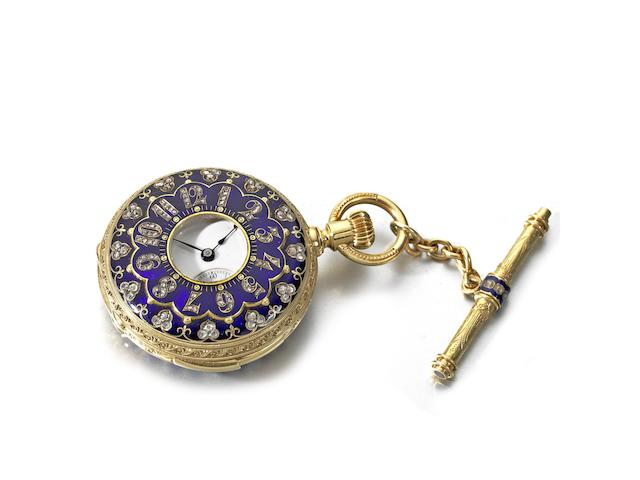 Patek Philippe. A very fine and rare small 18ct gold, diamond and enamel set keyless wind five minute repeating half hunter pocket watch Case & Movement No.47484, Sold 30th June 1874
