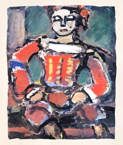 Georges Rouault (French, 1871-1958) Divertissement The volume, 1943, comprising fifteen lithographs printed in colours, on Velin d'Arches, hors-texte, with title page and text in French, stamp numbered 539 on the justification page, from the total edition of 1,270, published by Tériade for Editions de la Revue Verve, Paris, loose within the original paper wrappers as published, the full sheets, 430 x 330mm (17 x 13in)(overall) 15 Vol