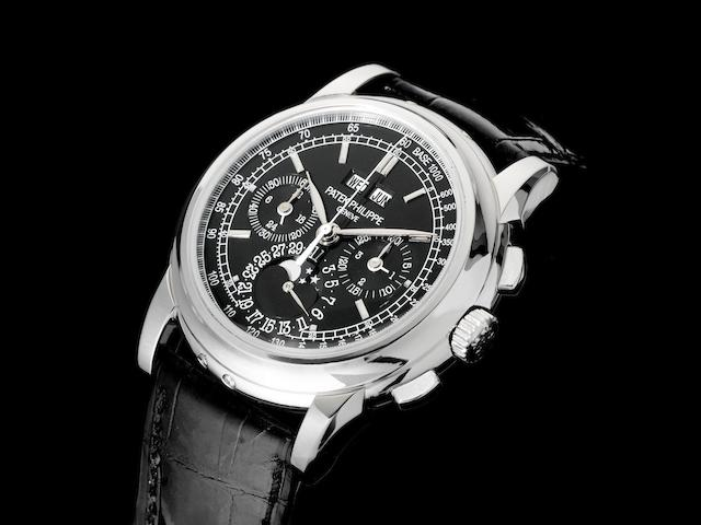 Patek Phillipe. A very fine and rare platinum manual wind perpetual calendar chronograph wristwatch with moon phase Ref:5970P-001, Case No.4485152, Movement No.3931068, Sold 1st July 2009