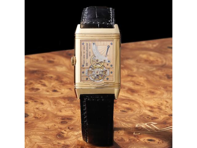 Jaeger-leCoultre. A limited edition 18ct rose gold manual wind reversible wristwatch with Tourbillon and power reserve Reverso, Ref:270.2.68, No.315/500, Movement No.2618067, Sold 6th June 1995