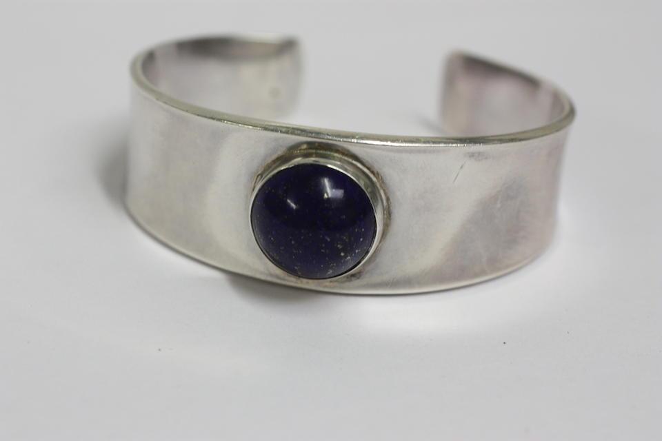 Georg Jensen: A lapis lazuli cuff bangle, designed by Henning Koppel
