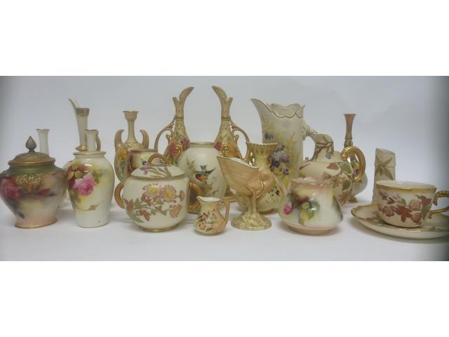 A quantity of small Royal Worcester vases and jugs  Late 19th/Early 20th Century