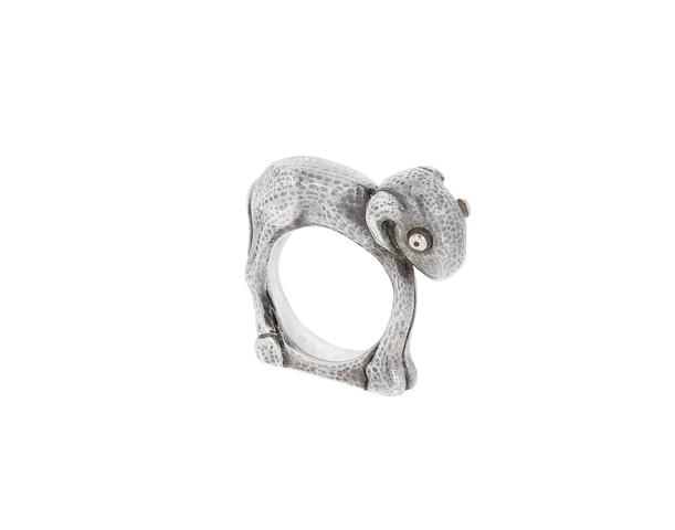 A silver lamb ring, by Mosheh Oved,
