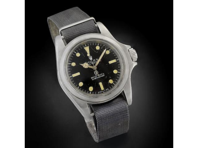 Rolex. A stainless steel Military issue Automatic watch Submariner, Ref:5513, Serial No.3826481, Circa 1972