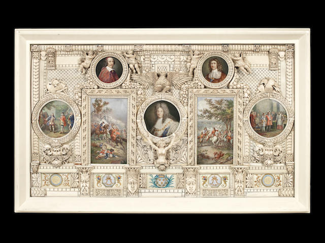 A large and impressive late 19th century Dieppe ivory frame with painted panels depicting portraits and scenes from the life of Louis XIV
