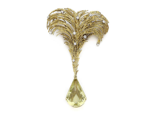 A gold, yellow beryl and diamond brooch, by Andrew Grima,