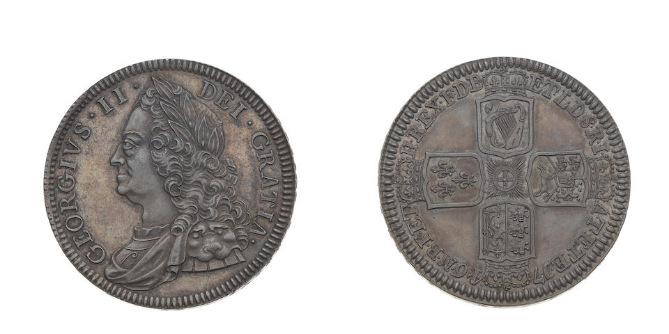 George II, Proof Crown, 1746, 30.13g, old laureate and draped bust left,