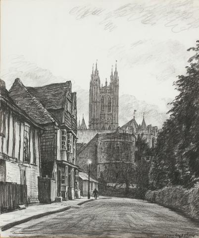 Sir Muirhead Bone HRSA HRWS HARIBA HRE LLB D Litt (British, 1867-1953) Canterbury Cathedral 24.5 x 21 cm. (9 5/8 x 8 1/4 in.)