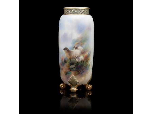 A Royal Worcester vase by Harry Davis Dated 1910