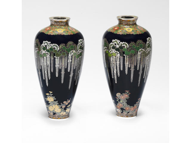 An important and fine pair of matching cloisonné-enamel ovoid vases  By Namikawa Yasuyuki (1845-1927), circa 1897 (4)